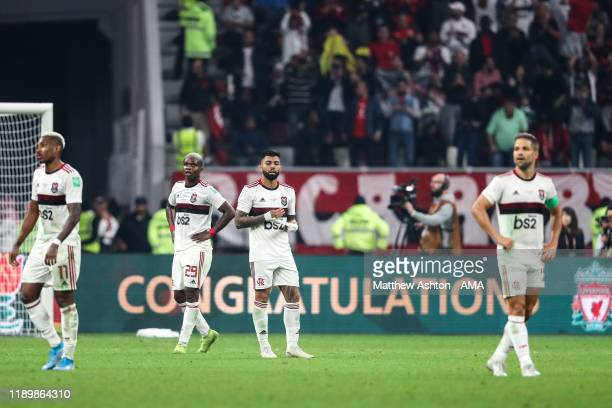 Dejected players of CR Flamengo react at full time during the FIFA Club World Cup Qatar 2019 Final match between Liverpool FC and CR Flamengo at...