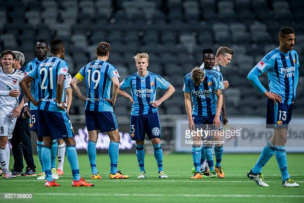 Dejected players of Djurgardens IF during the Allsvenskan match between Djurgardens IF and Kalmar FF at Tele2 Arena on May 19 2016 in Stockholm Sweden
