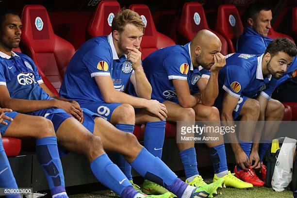 Dejected players of Dnipro Dnipropetrovsk