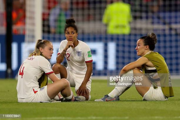 Dejected players of England react at full time during the 2019 FIFA Women's World Cup France Semi Final match between England and United States of...
