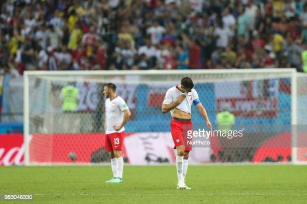 Dejected Poland's Robert Lewandowski reacts after team's 03 loss at the World Cup Group H soccer match between Poland and Colombia at the Kazan Arena...