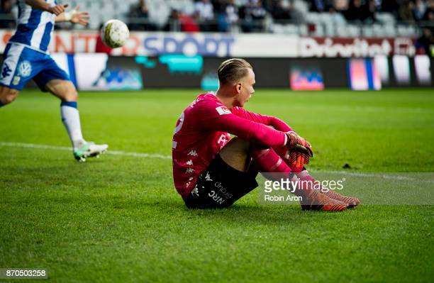Dejected Pontus Dahlberg goalkeeper after letting in 01 goal during the Allsvenskan match between IFK Goteborg and GIF Sundvall at Gamla Ullevi on...