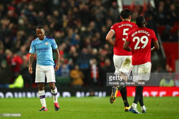 A dejected Raheem Sterling of Manchester City during the Premier League match between Manchester United and Manchester City at Old Trafford on March...