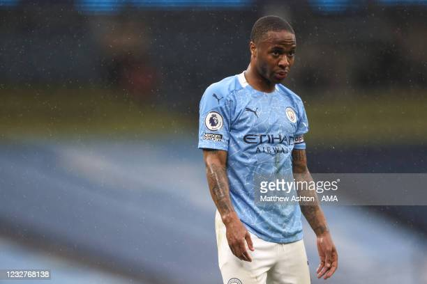 Dejected Raheem Sterling of Manchester City during the Premier League match between Manchester City and Chelsea at Etihad Stadium on May 8, 2021 in...