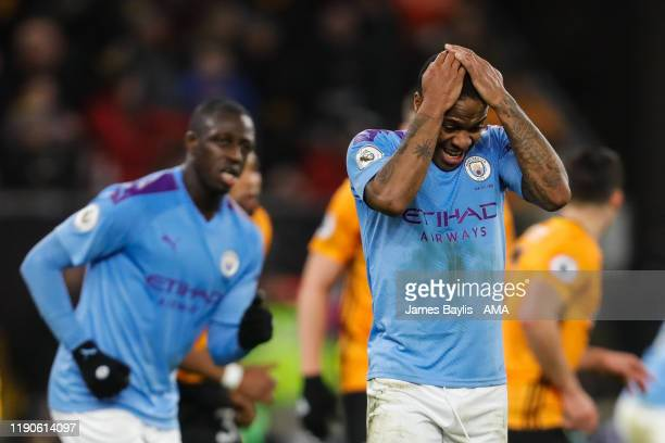 Dejected Raheem Sterling of Manchester City reacts during the Premier League match between Wolverhampton Wanderers and Manchester City at Molineux on...
