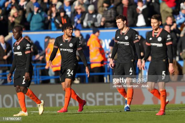 Dejected Reece James and Andreas Christensen of Chelsea after Ben Chilwell of Leicester City scored a goal to make it 2-1 during the Premier League...