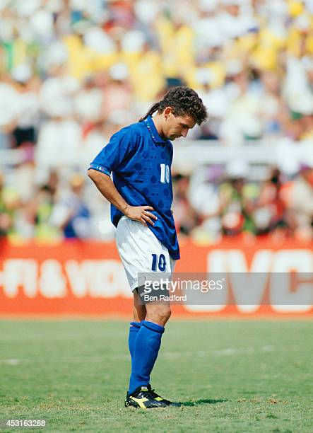A dejected Roberto Baggio of Italy after missing the vital penalty kick in the shoot out during the 1994 FIFA World Cup final between Brazil and...