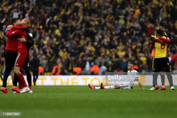 A dejected Romain Saiss of Wolverhampton Wanderers during the FA Cup Semi Final match between Watford and Wolverhampton Wanderers at Wembley Stadium...