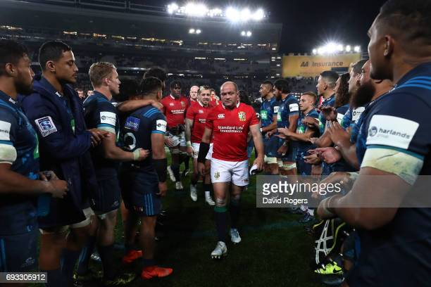 A dejected Rory Best of the British Irish Lions and teammates walk off the pitch following their 2216 defeat during the 2017 British Irish Lions tour...