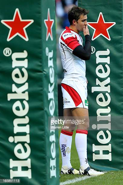 A dejected Ruan Pienaar of Ulster looks on during the Heineken Cup quarter final match between Saracens and Ulster at Twickenham Stadium on April 6...