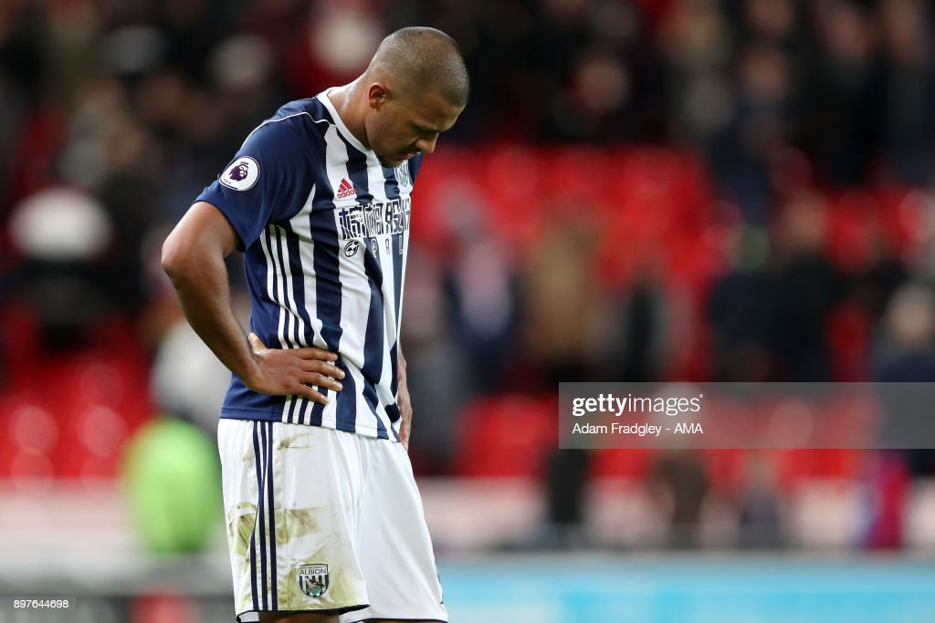 A dejected Salomon Rondon of West Bromwich Albion at the final whistle having lost 3-1 during the Premier League match between Stoke City and West Bromwich Albion at Bet365 Stadium on December 23, 2017 in Stoke on Trent, England.
