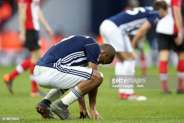 A dejected Salomon Rondon of West Bromwich Albion at the final whistle during the Emirates FA Cup Fifth Round between West Bromwich Albion and...