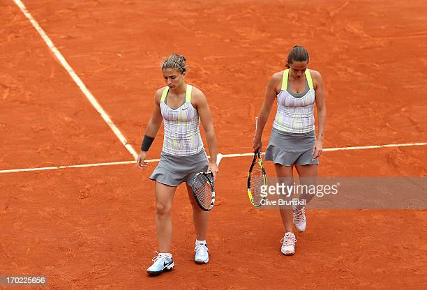 A dejected Sara Errani of Italy and Roberta Vinci of Italy during their Women's Doubles final match against Ekaterina Makarova of Russia and Elena...