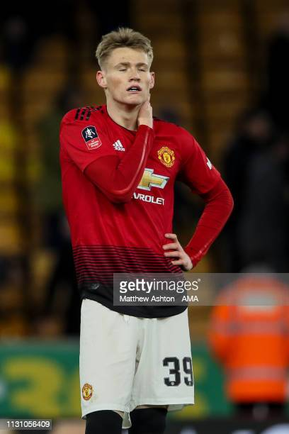 A dejected Scott McTominay of Manchester United during the FA Cup Quarter Final match between Wolverhampton Wanderers and Manchester United at...
