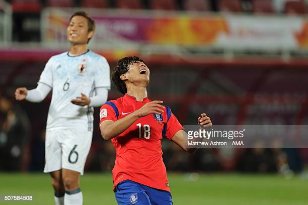 A dejected Seon Guk of South Korea during the AFC U23 Championship final match between South Korea and Japan at the Abdullah Bin Khalifa Stadium on...