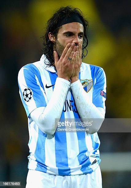 Dejected Sergio Sanchez of Malaga after defeat in the UEFA Champions League quarterfinal second leg match between Borussia Dortmund and Malaga at...