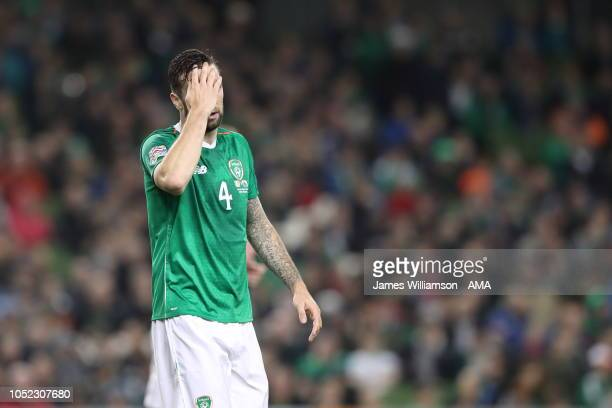 A dejected Shane Duffy of Ireland during the UEFA Nations League B group four match between Ireland and Wales at Aviva Stadium on October 16 2018 in...