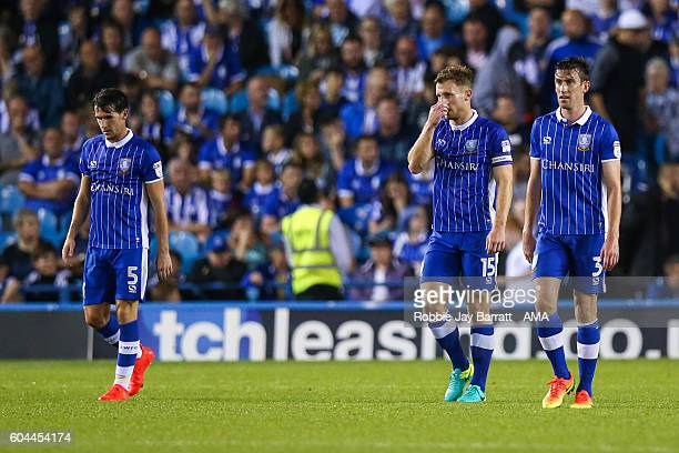 Dejected Sheffield United players during the Sky Bet Championship match between Sheffield Wednesday and Bristol City at Hillsborough on September 13...