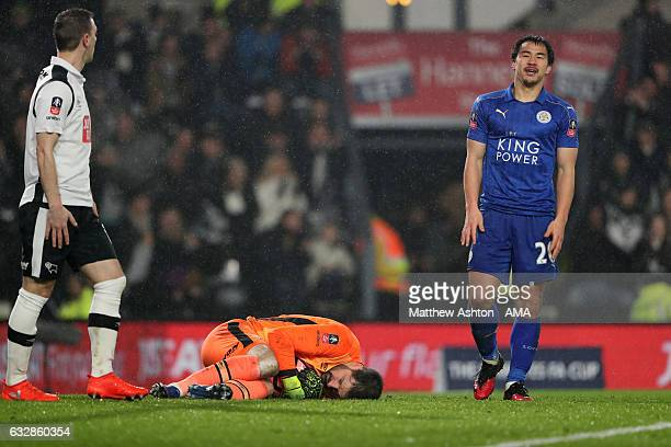 A dejected Shinji Okazaki of Leicester City as Scott Carson of Derby County saves at his feet during the Emirates FA Cup Fourth Round match between...