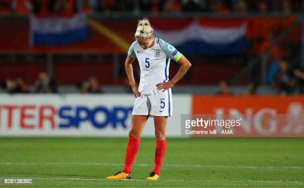 A dejected Steph Houghton of England Women during the UEFA Women's Euro 2017 semi final match between Netherlands and England at De Grolsch Veste...
