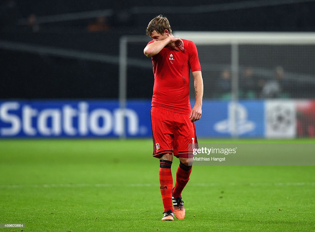 A dejected Stephan Kiessling of Bayer Leverkusen after defeat during the UEFA Champions League group C match between Bayer 04 Leverkusen and AS Monaco FC at BayArena on November 26, 2014 in Leverkusen, Germany.