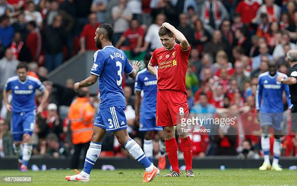 Dejected Steven Gerrard after the first Chelsea goal during the Liverpool versus Chelsea Barclays FA Premier League match at Anfield on April 27th...