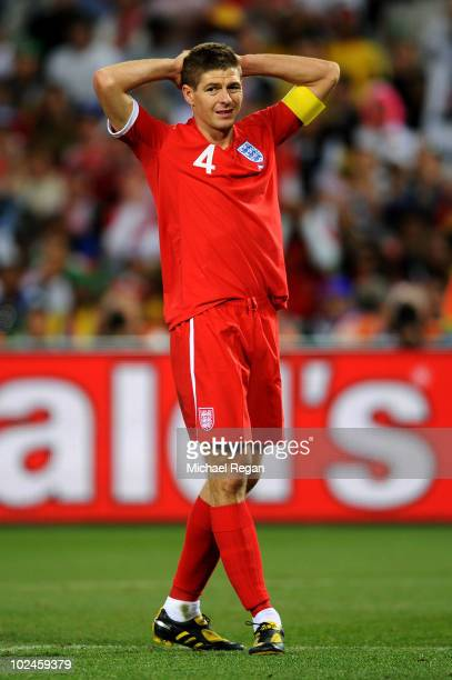 Dejected Steven Gerrard of England with his hands on his head during the 2010 FIFA World Cup South Africa Round of Sixteen match between Germany and...