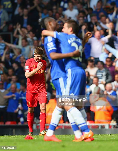 A dejected Steven Gerrard of Liverpool looks to the ground during the Barclays Premier League match between Liverpool and Chelsea at Anfield on April...