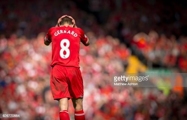 A dejected Steven Gerrard of Liverpool