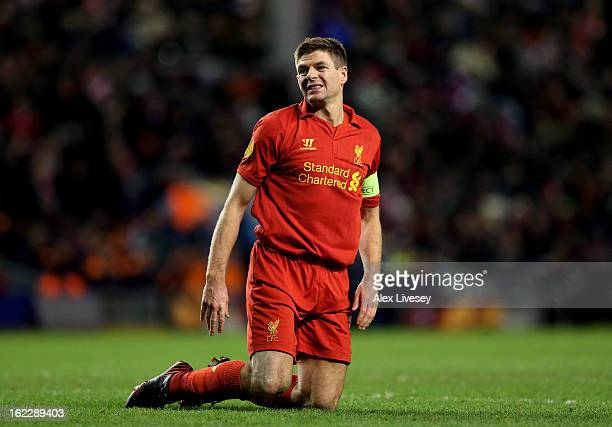 A dejected Steven Gerrard of Liverpool reacts during the UEFA Europa League round of 32 second leg match between Liverpool FC and FC Zenit St...