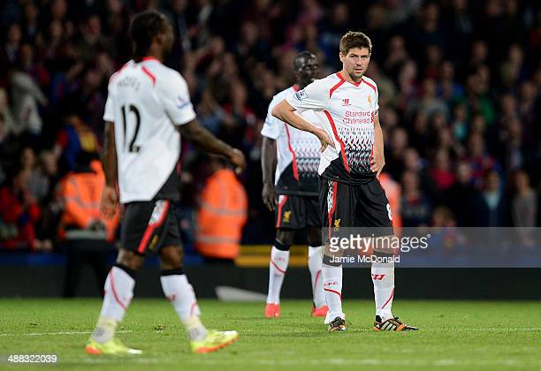 A dejected Steven Gerrard of Liverpool reacts following his team's 33 draw during the Barclays Premier League match between Crystal Palace and...