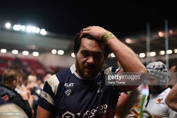Dejected Steven Luatua of Bristol Bears walks off after the match during the Gallagher Premiership Rugby match between Bristol Bears and Wasps at...