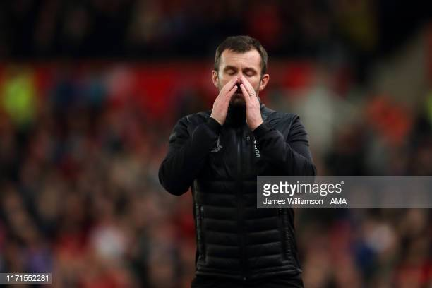 A dejected Stoke City manager head coach Nathan Jones during the Sky Bet Championship match between Stoke City and Nottingham Forest at Bet365...