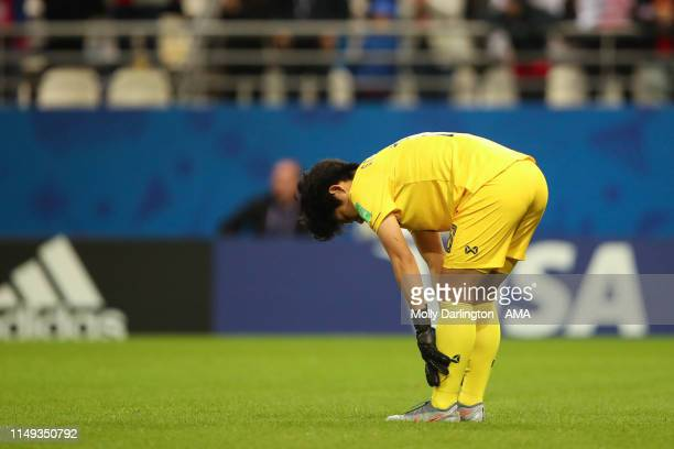 A dejected Sukanya Chor Charoenying of Thailand during the 2019 FIFA Women's World Cup France group F match between USA and Thailand at Stade Auguste...
