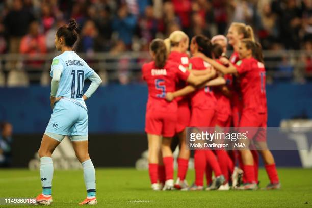 A dejected Sunisa Srangthaisong of Thailand during the 2019 FIFA Women's World Cup France group F match between USA and Thailand at Stade Auguste...