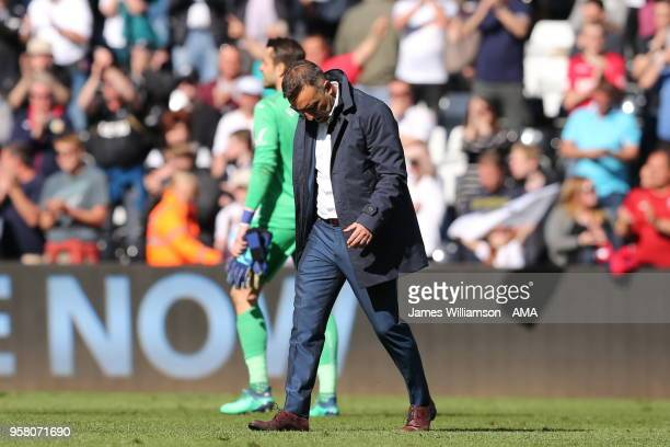 A dejected Swansea City manager Carlos Carvalhal during the Premier League match between Swansea City and Stoke City at Liberty Stadium on May 13...