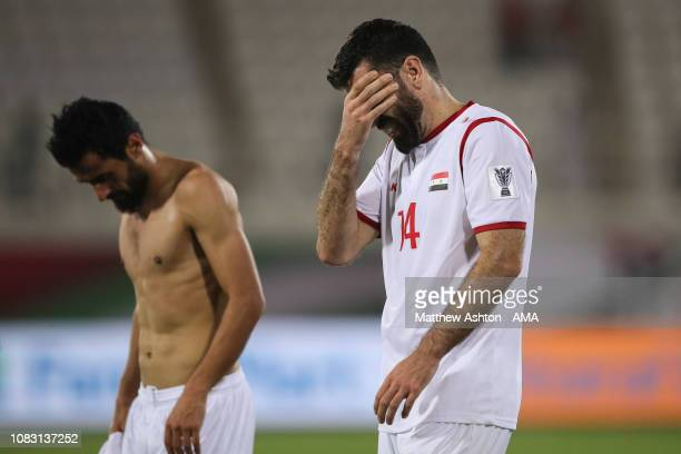Dejected Tamer Hag Mohamad of Syria reacts at full time during the AFC Asian Cup Group B match between Australia and Syria at Khalifa Bin Zayed...