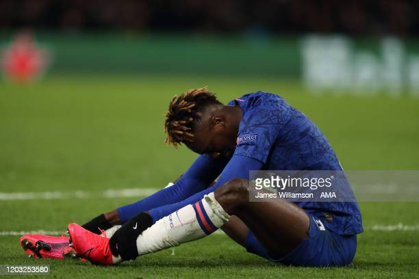 A dejected Tammy Abraham of Chelsea during the UEFA Champions League round of 16 first leg match between Chelsea FC and FC Bayern Muenchen at...