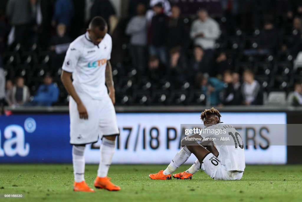 A dejected Tammy Abraham of Swansea City at full time during the Premier League match between Swansea City and Southampton at Liberty Stadium on May 8, 2018 in Swansea, Wales.