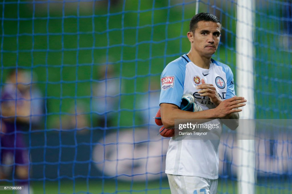 A dejected Tim Cahill of Melbourne City leaves the ground after the A-League Elimination Final match between Melbourne City FC and the Perth Glory at AAMI Park on April 23, 2017 in Melbourne, Australia.