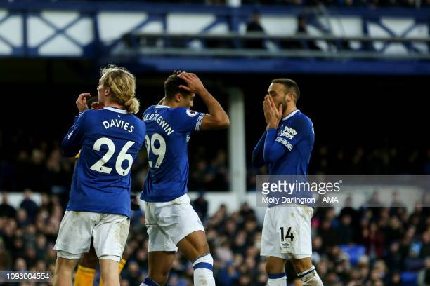 A dejected Tom Davies of Everton Dominic CalvertLewin of Everton and Cenk Tosun of Everton during the Premier League match between Everton FC and...