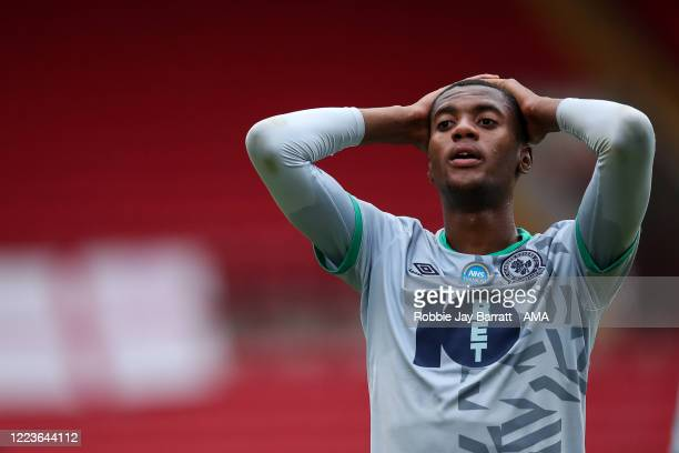 Dejected Tosin Adarabioyo of Blackburn Rovers reacts at full time during the Sky Bet Championship match between Barnsley and Blackburn Rovers at...