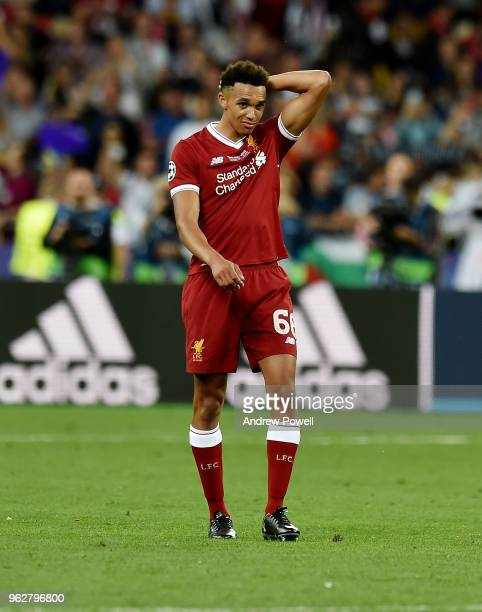 A dejected Trent AlexanderArnold of Liverpool at the end of the UEFA Champions League final between Real Madrid and Liverpool on May 26 2018 in Kiev...