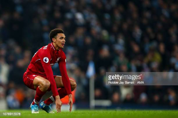 A dejected Trent AlexanderArnold of Liverpool during the Premier League match between Manchester City and Liverpool FC at Etihad Stadium on January 3...