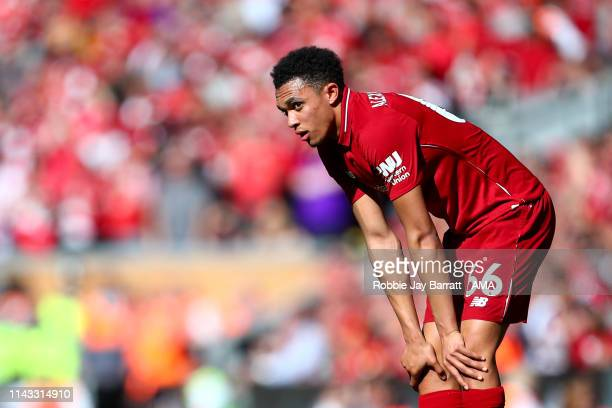 A dejected Trent AlexanderArnold of Liverpool during the Premier League match between Liverpool FC and Wolverhampton Wanderers at Anfield on May 12...
