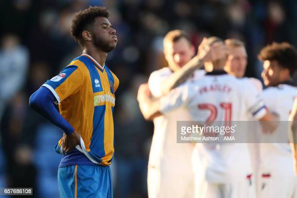 A dejected Tyler Roberts of Shrewsbury Town after the 02 defeat to Bolton during the Sky Bet League One match between Shrewsbury Town and Bolton...