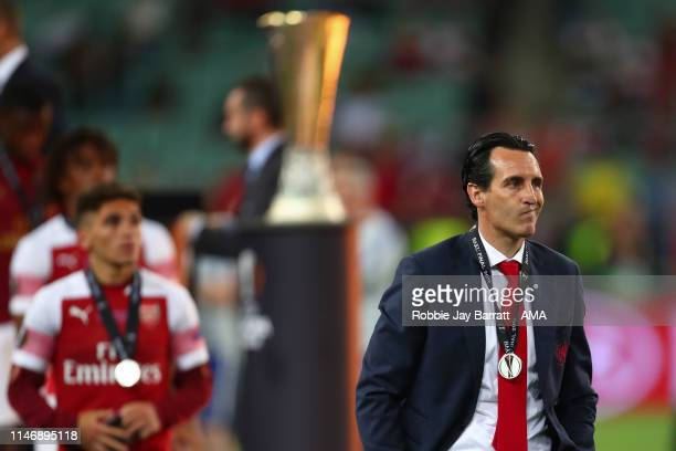 Dejected Unai Emery the head coach / manager of Arsenal after losing in the UEFA Europa League Final between Chelsea and Arsenal at Baku Olimpiya...