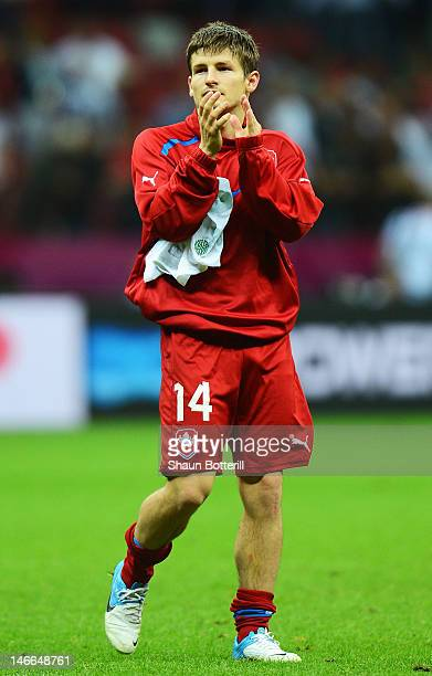 Dejected Vaclav Pilar of Czech Republic after defeat in the UEFA EURO 2012 quarter final match between Czech Republic and Portugal at The National...