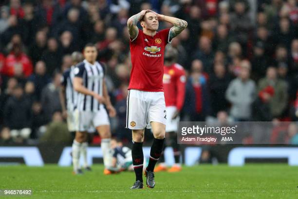A dejected Victor Lindelof of Manchester United during the Premier League match between Manchester United and West Bromwich Albion at Old Trafford on...