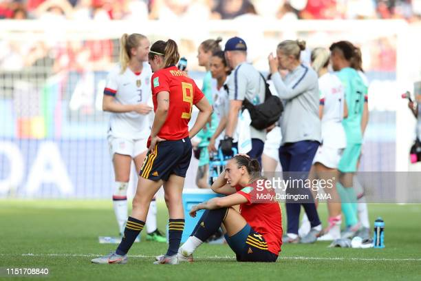 A dejected Virginia Torrecilla of Spain and Mariona Caldentey of Spain during the 2019 FIFA Women's World Cup France Round Of 16 match between Spain...
